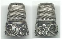 Vintage / Antique Silver flower thimble NICE