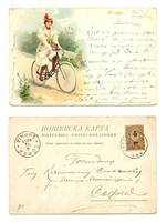 1901 Lady & Bicycle color Litho postcard R