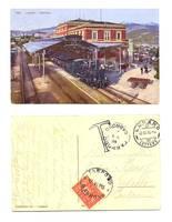 1915 Swiss Lugano Train Station Due postcard