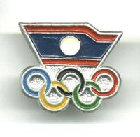 1980 LAOS NOC Olympic official pin badge 2 RR