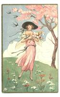 CHIOSTRI Deco Spring Lady in Pink postcard R