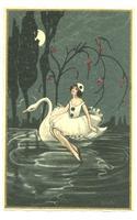 CHIOSTRI night Pierette & Swan love postcard
