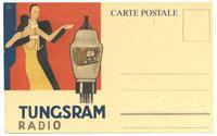 Hungary Art Deco TUNGSRAM radio lamp postcard