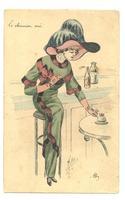 Art Nouveau Mille plume hat lady postcard R