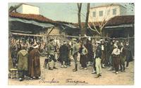 1912 Greece Thessaloniki Meat Market postcard