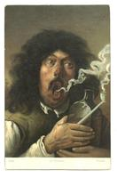 c1920 French Brouwer SMOKER artist postcard !