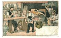 1905 Germany Glass production postcard RARE