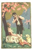 Art Deco CHIOSTRI Lamb Boy & flute postcard