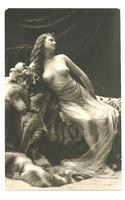 1910 Erotica Nude Lady & Tiger postcard NICE