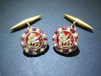 19c. Winged Lion Enamel Gold Ruby Cufflinks