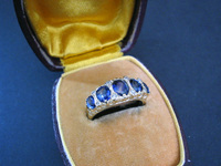 Early Victorian Sapphire Five Stone Ring GOLD