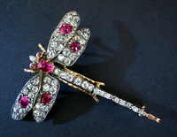 Victorian Ruby & Diamond Dragonfly Bug Brooch