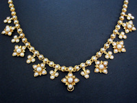 Antique Victorian Half Pearl Gold Necklace