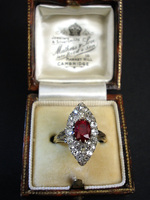 Victorian Marquise Diamond & Burma Ruby ring