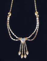 RETRO Art Deco French Diamond Necklace / Gold