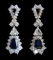 MOUAWAD Sapphire Diamond platinum earclips