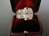 Art Deco Retro style 18K Gold Diamond Ring