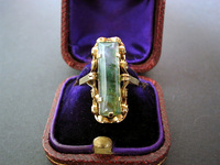 Moss Agate Antique Victorian yellow Gold Ring