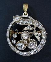 Georgian Diamond Clover Pendant Brooch 2ct.