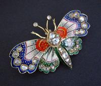 Victorian Guilloche Enamel Diamond Butterfly