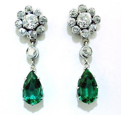 Antique Emerald Drop Earrings Diamond Flowers