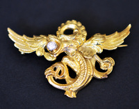 Victorian Diamond Griffin Pendant Brooch Gold