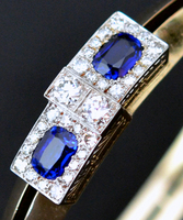 Art Deco Kashmir Sapphire Bangle Bracelet 20s
