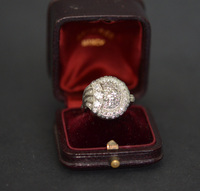 Art Deco Platinum Diamond Cocktail Swirl Ring