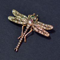 Victorian Diamond Dragonfly Insect Brooch 15K