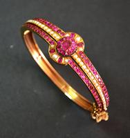 Victorian Burma Ruby Pearl Bangle Bracelet