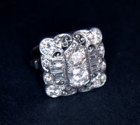 Art Deco 4 ct Diamond Platinum Cocktail Ring