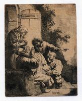1633 Rembrandt etching Joseph coat Jacob RARE