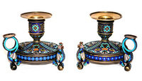 Antique Russian Silver Enamel Candlesticks