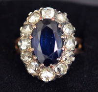 Antique Victorian Rose Diamond Sapphire Ring