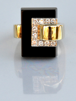 1970s CARTIER Space Age Diamond Onyx Ring 18K