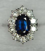 Natural Burma Mogok Sapphire Diamond Ring