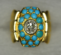1940s RETRO Diamond Turquoise Cocktail Ring
