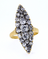 Large Georgian Almond Shape Diamond Ring 4.5C