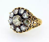 Large Georgian Rose Cut Diamond Cluster Ring