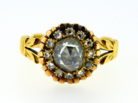 Georgian Sunburst Rose Cut Diamond Gold Ring