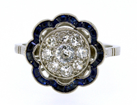 French Art Deco Diamond Sapphire Flower Ring