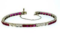 1930s Ruby Diamond 18K Gold Tennis Bracelet