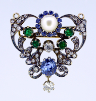 Victorian Multi Gem Sapphire Pendant Brooch