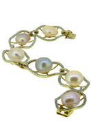 Large Natural Keshi Pearl Diamond Bracelet