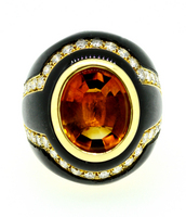 SABBADINI Golden Citrine Diamond Onyx Ring
