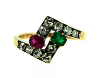 Antique Victorian Toi Moi Ruby Emerald Ring