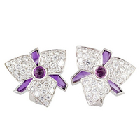 CARTIER Blossom Diamond Amethyst Earrings 18K