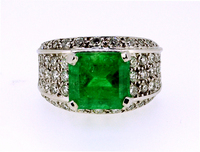 Vintage 4.65Ct Colombian Emerald Diamond Ring