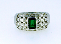 Colombian Emerald Tessellated Diamond Ring