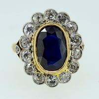 Victorian Burma Sapphire Diamond Cluster Ring